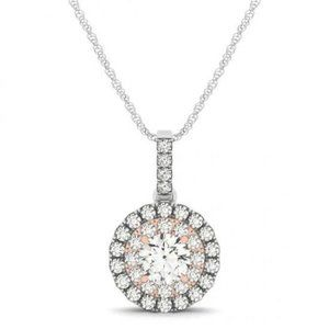 1.25 Cts Round Diamond Two Tone Gold 14K Pendant